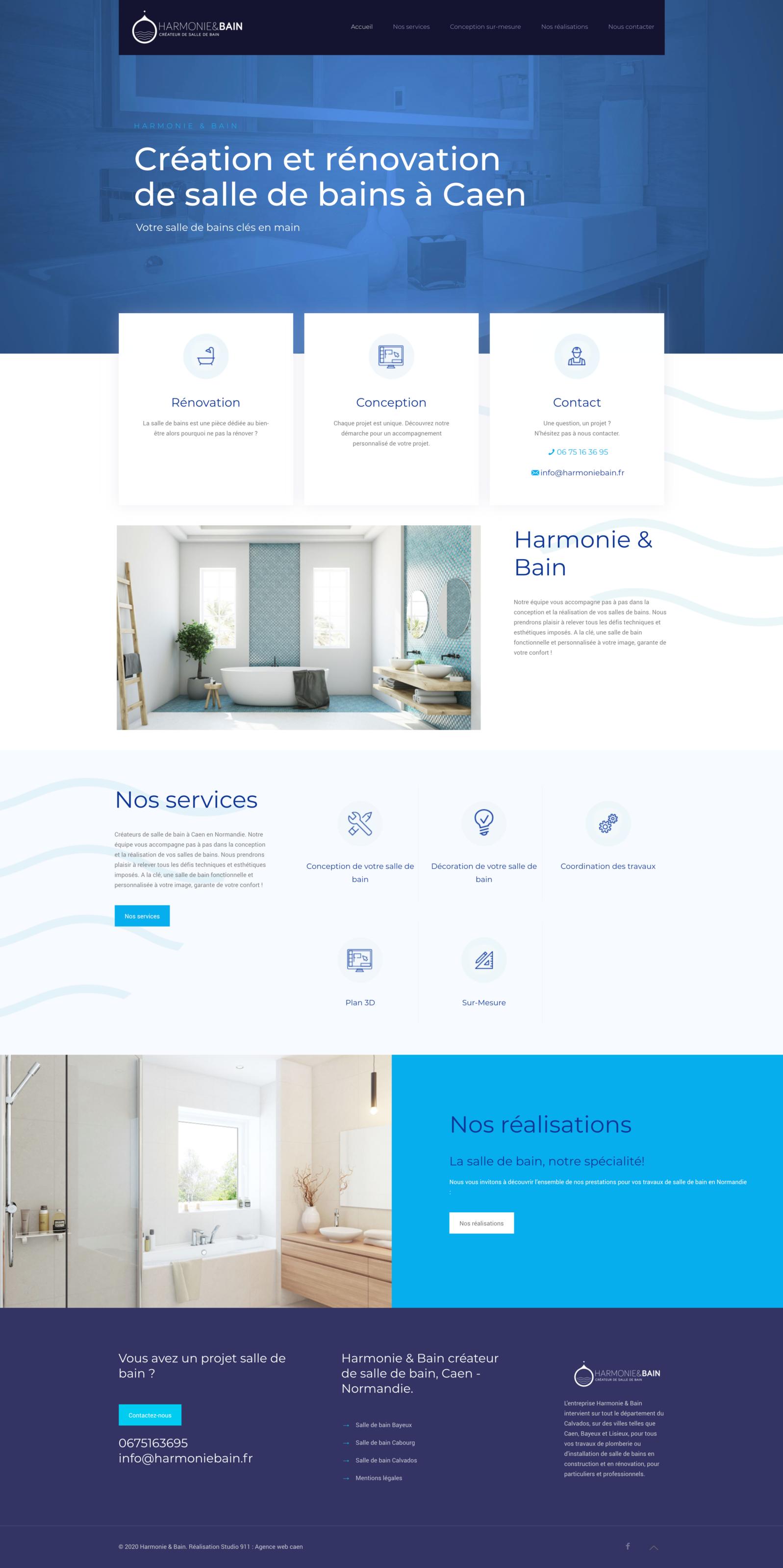 Web design harmonie et bain à caen