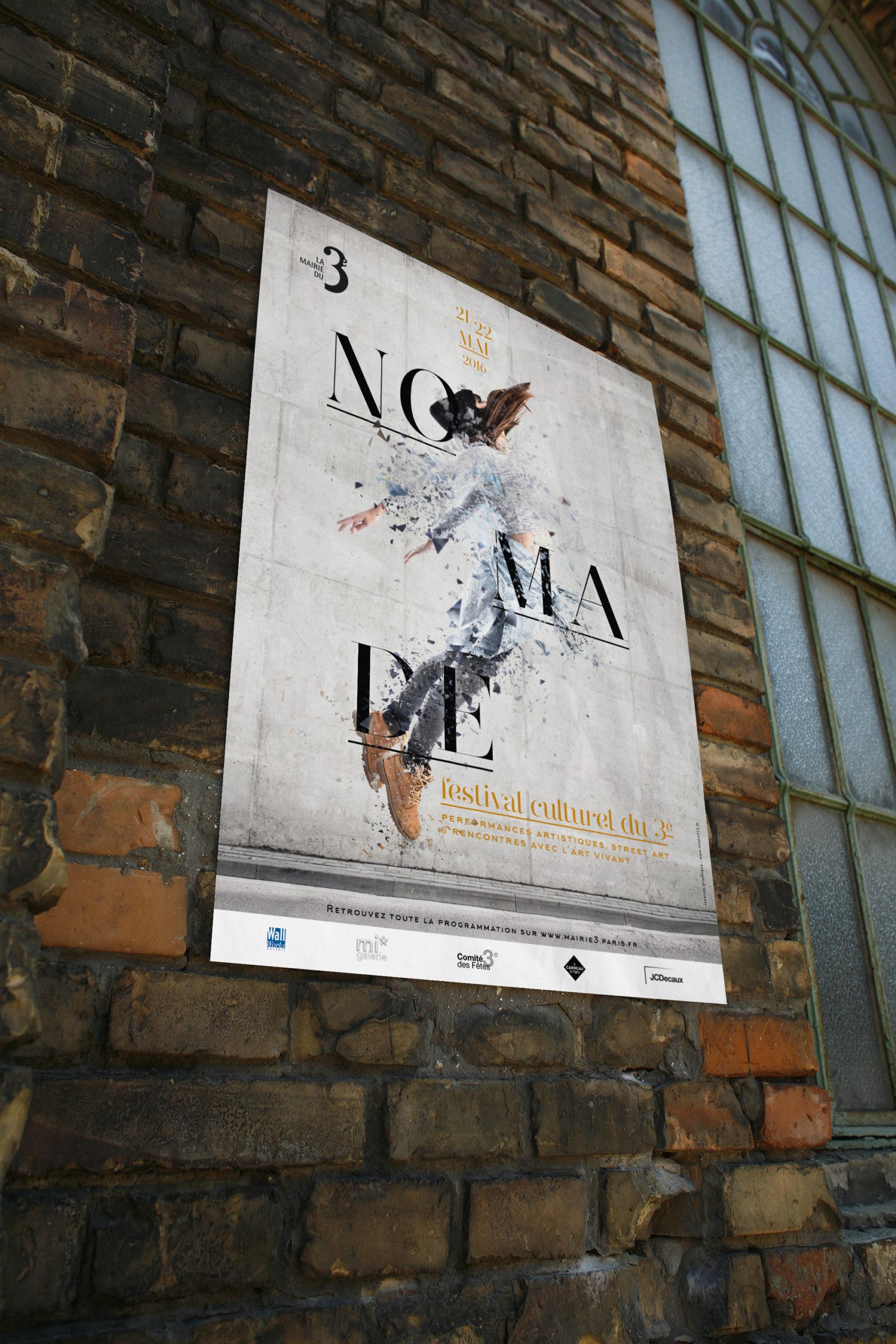 Création de l'affiche pour la mairie de paris du festival Nomade